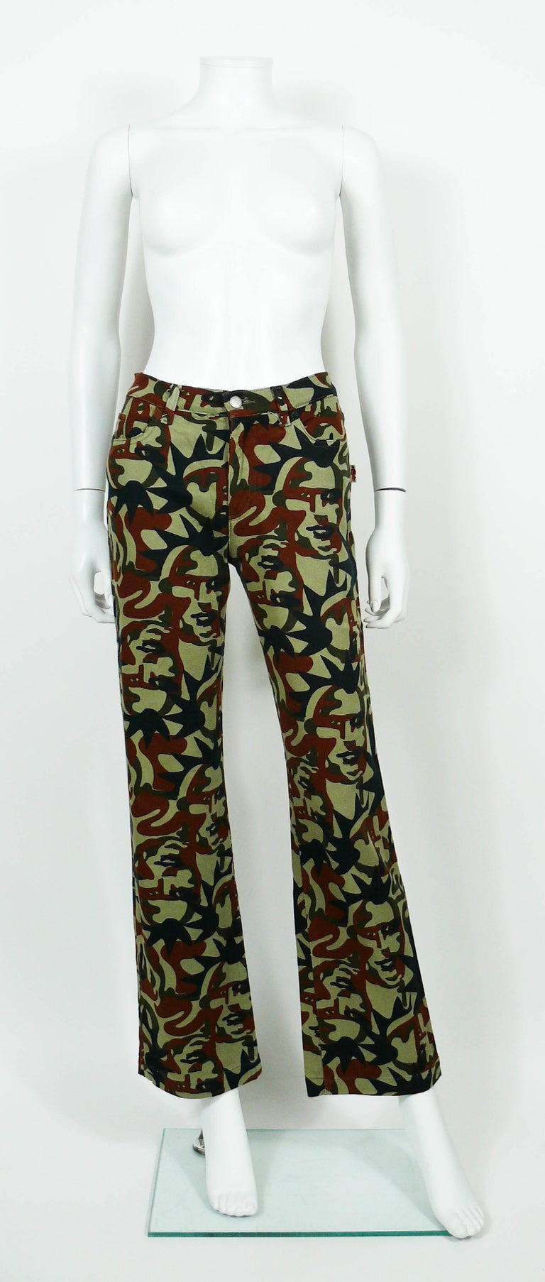 Jean Paul Gaultier Vintage Camouflage Faces Pants Trousers In Excellent Condition For Sale In French Riviera, Cote d'Azur