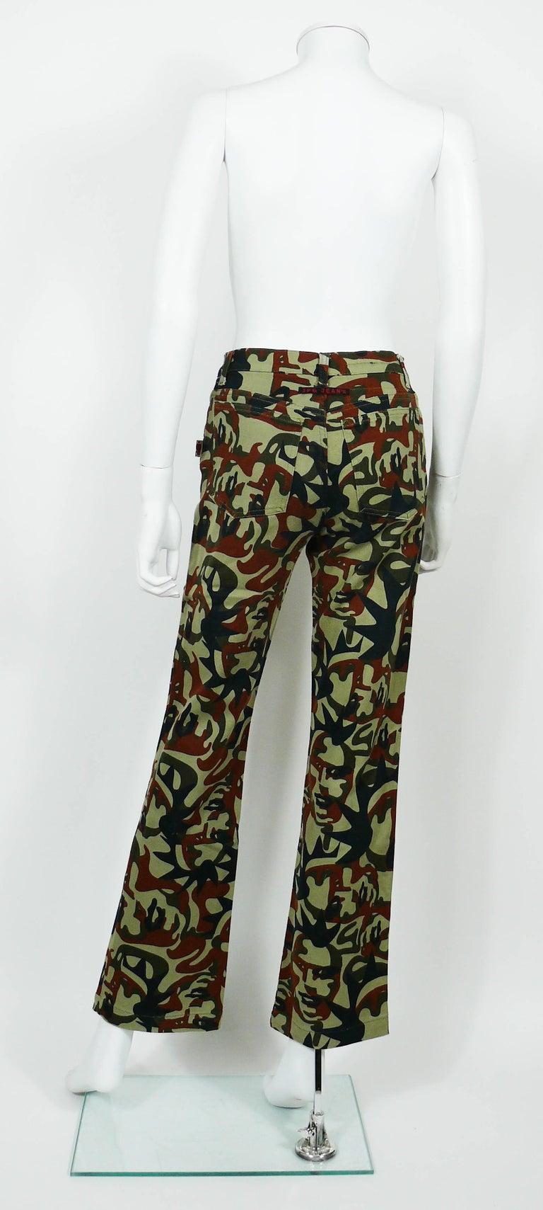 Jean Paul Gaultier Vintage Camouflage Faces Pants Trousers For Sale 2