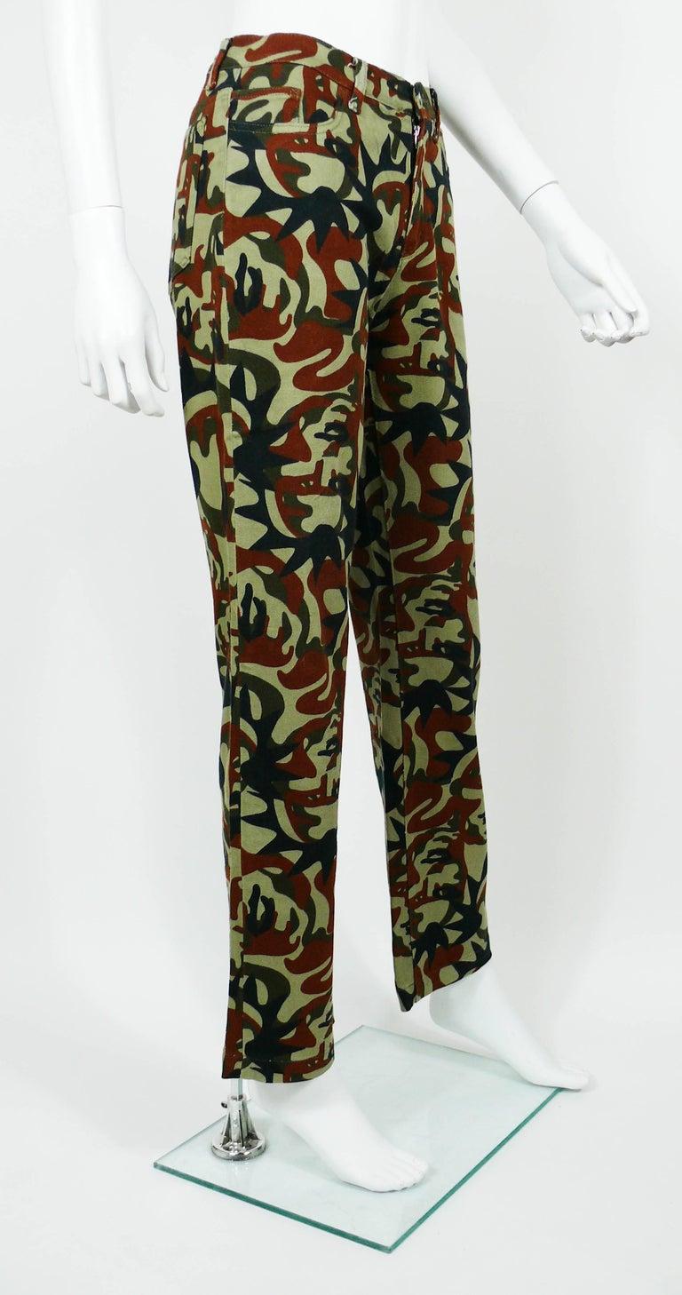 Black Jean Paul Gaultier Vintage Camouflage Faces Pants Trousers For Sale