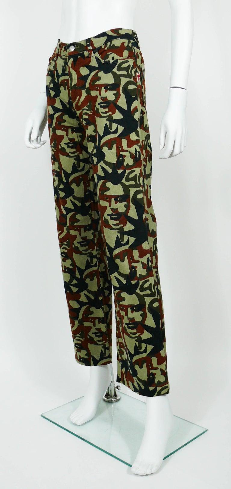 Women's Jean Paul Gaultier Vintage Camouflage Faces Pants Trousers For Sale
