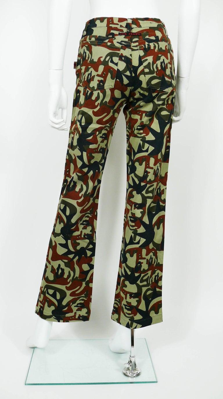 Jean Paul Gaultier Vintage Camouflage Faces Pants Trousers For Sale 3