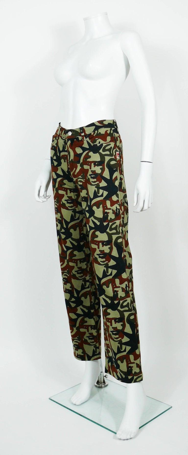 Jean Paul Gaultier Vintage Camouflage Faces Pants Trousers For Sale 1
