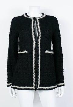 Chanel Vintage Fall 1998 Iconic Black & White Trim Boucle Cardigan Jacket
