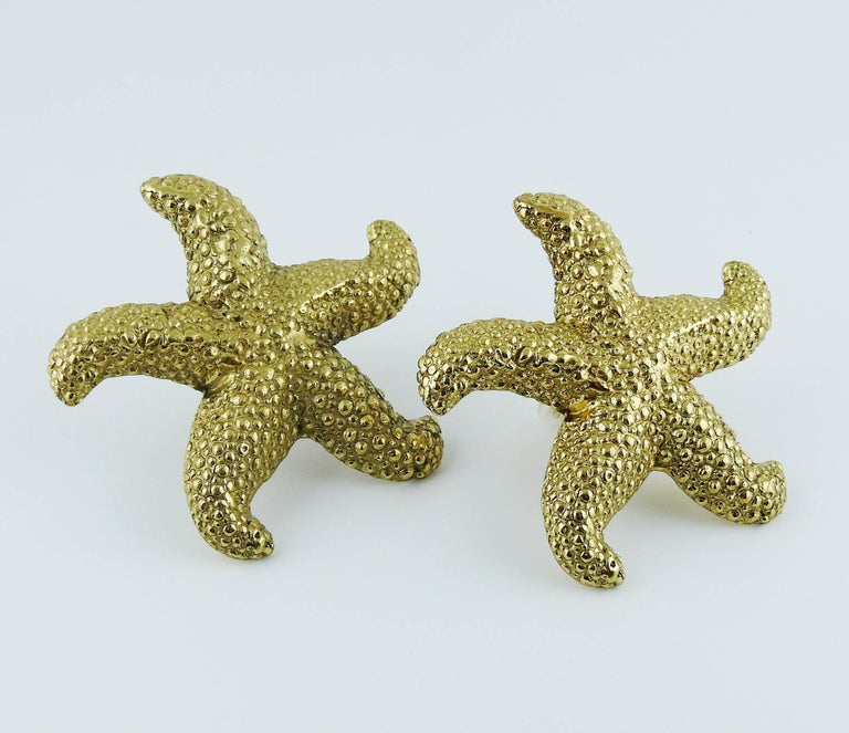 57320fac918 Yves Saint Laurent YSL Vintage Massive Gold Toned Starfish Clip-On Earrings  In Excellent Condition