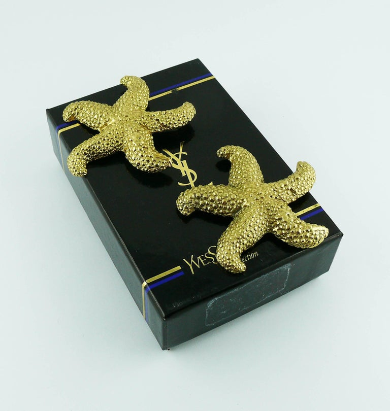f49e881b7a9 Women's Yves Saint Laurent YSL Vintage Massive Gold Toned Starfish Clip-On  Earrings For Sale