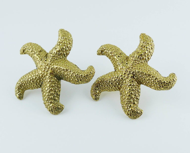 7c138a6069f Yves Saint Laurent YSL Vintage Massive Gold Toned Starfish Clip-On Earrings  For Sale 1