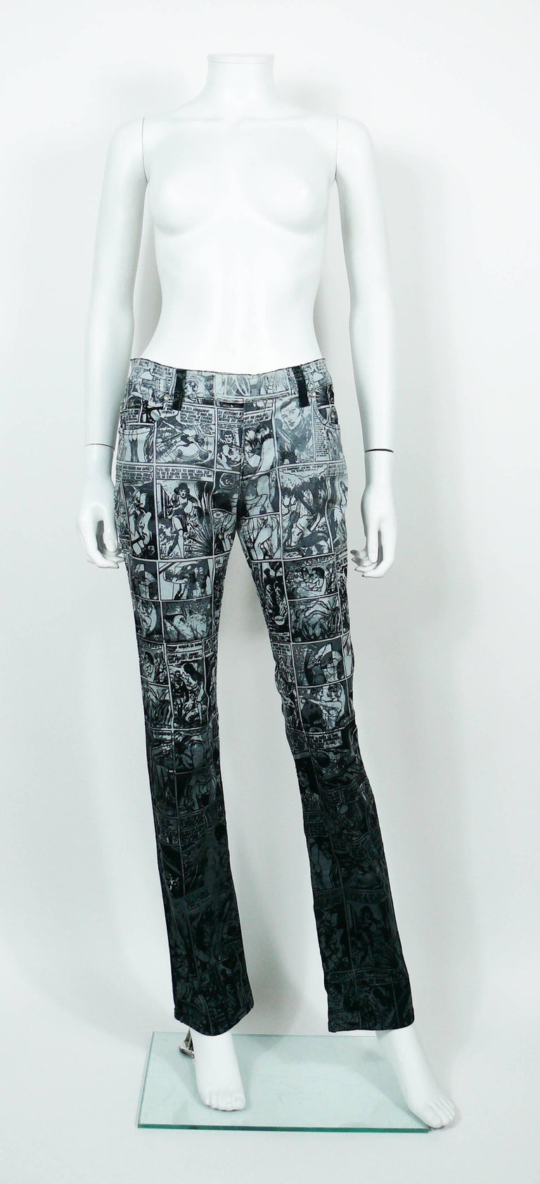 Jean Paul Gaultier Comic Cartoon Print Pants Trousers  In Excellent Condition For Sale In French Riviera, Nice