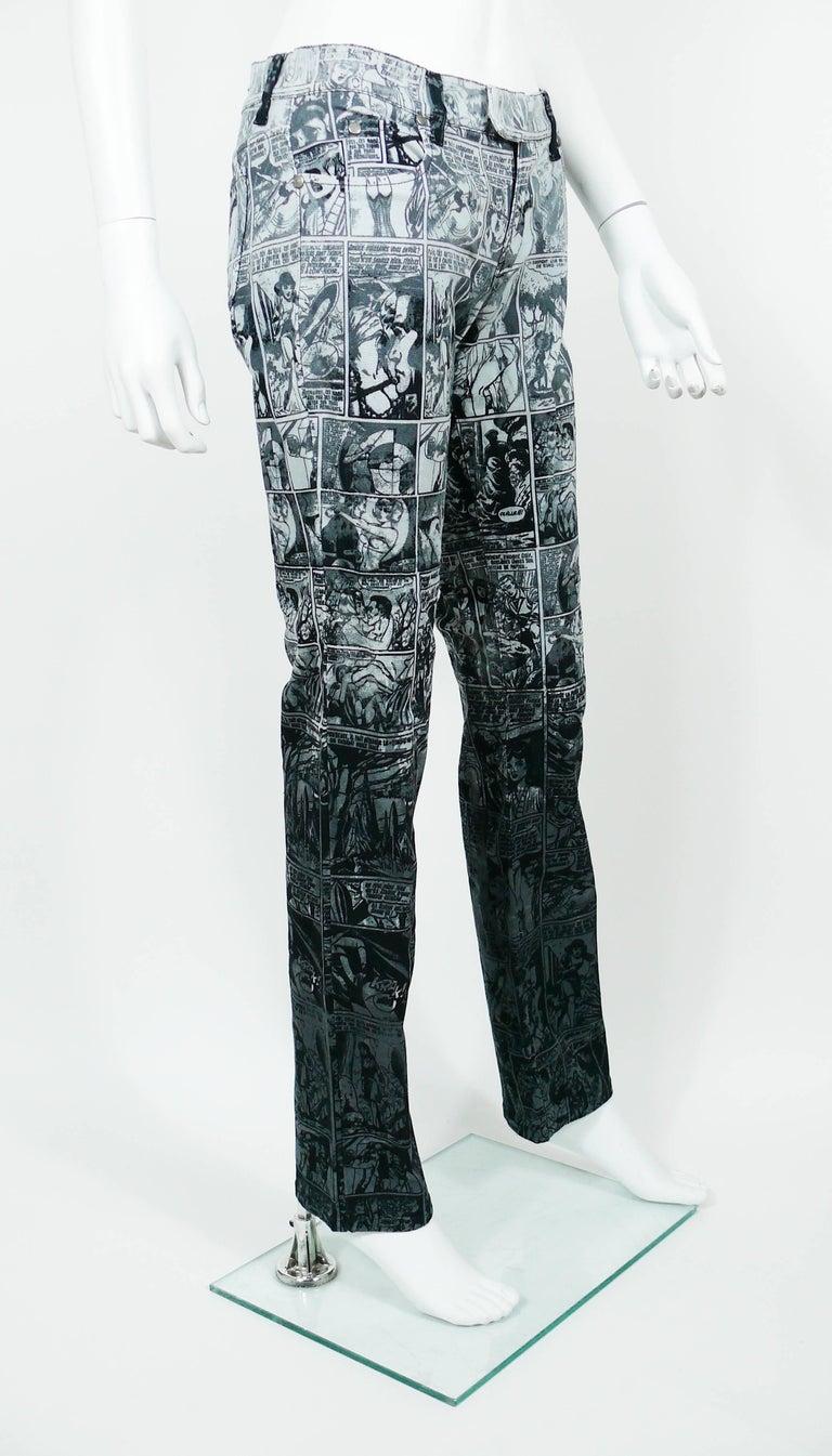 Black Jean Paul Gaultier Comic Cartoon Print Pants Trousers  For Sale