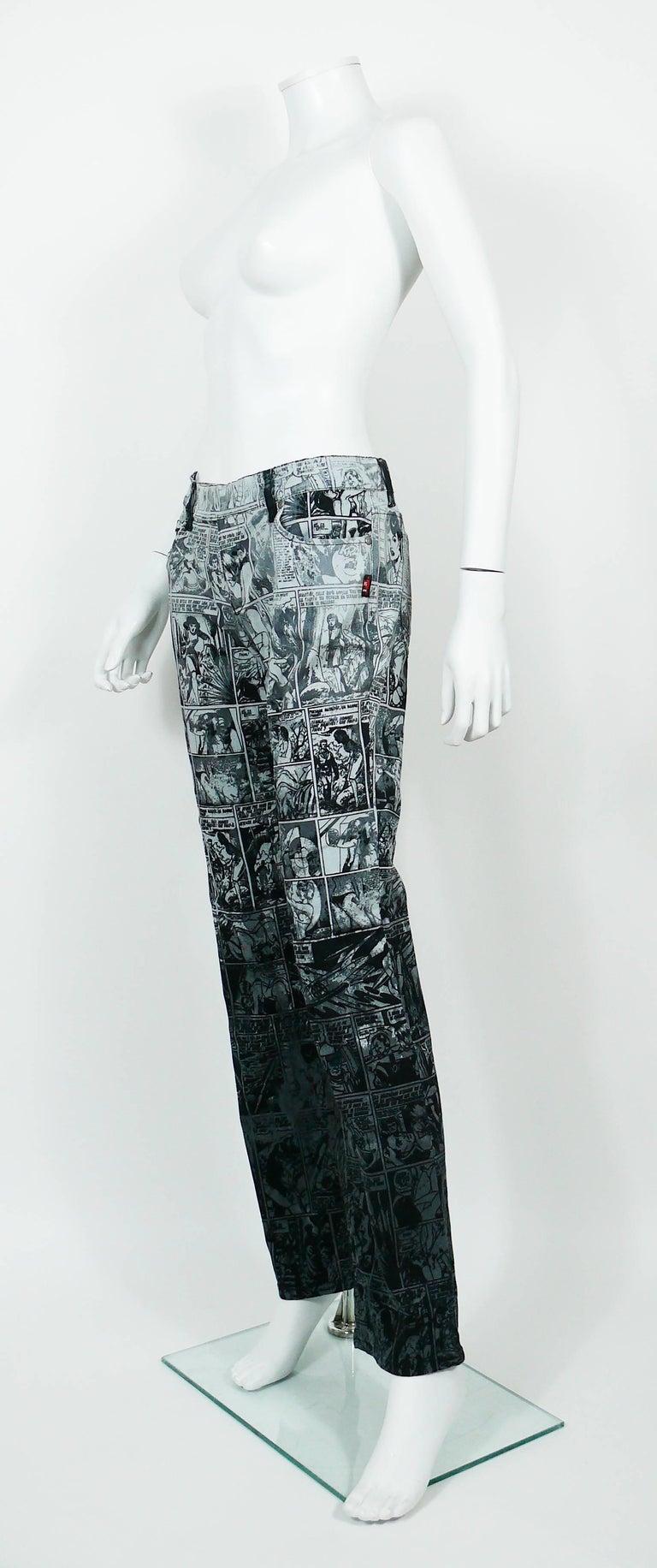 Jean Paul Gaultier Comic Cartoon Print Pants Trousers  For Sale 2
