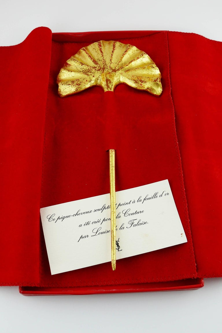 YVES SAINT LAURENT by LOULOU DE LA FALAISE vintage sculpted hairpin finished in gold leaf.  Comes with : * original card
