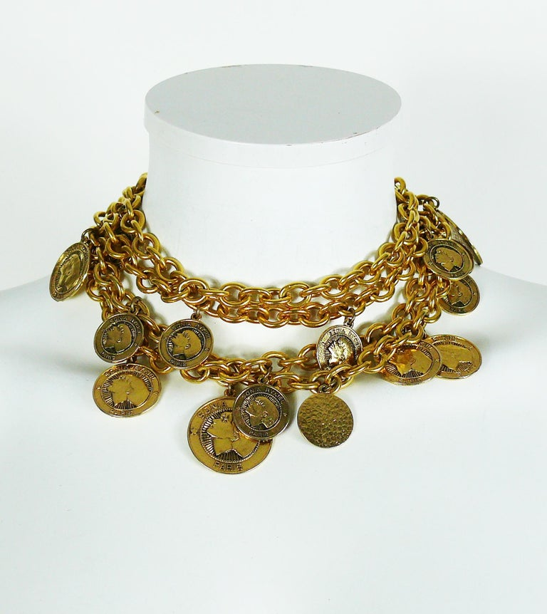 Sonia Rykiel Vintage Gold Toned Chain Belt Necklace with Profile Charms In Excellent Condition For Sale In French Riviera, Nice