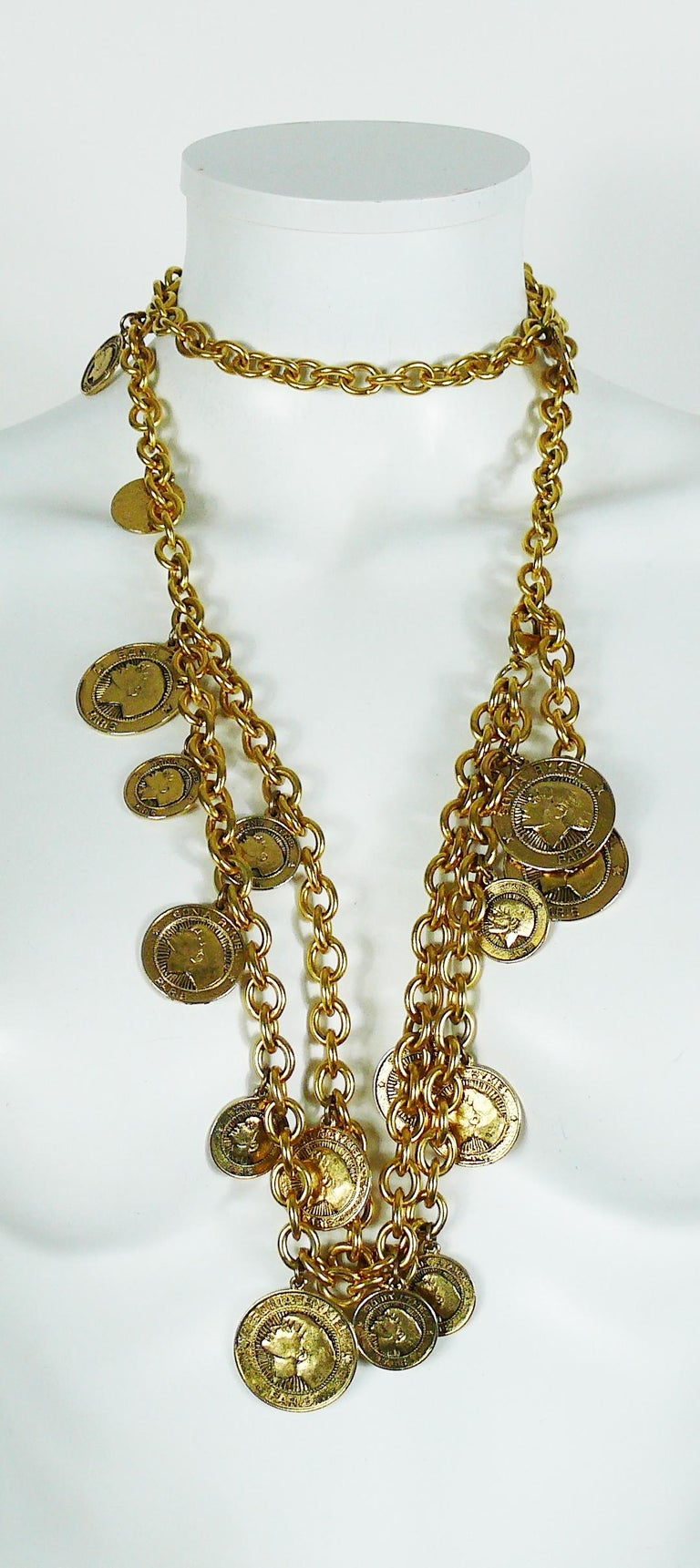 Sonia Rykiel Vintage Gold Toned Chain Belt Necklace with Profile Charms For Sale 1