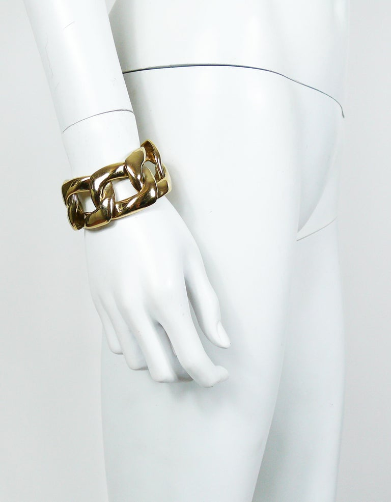 1d8c812e57c YVES SAINT LAURENT vintage chunky gold toned curb chain bracelet. Embossed  YSL Made in France