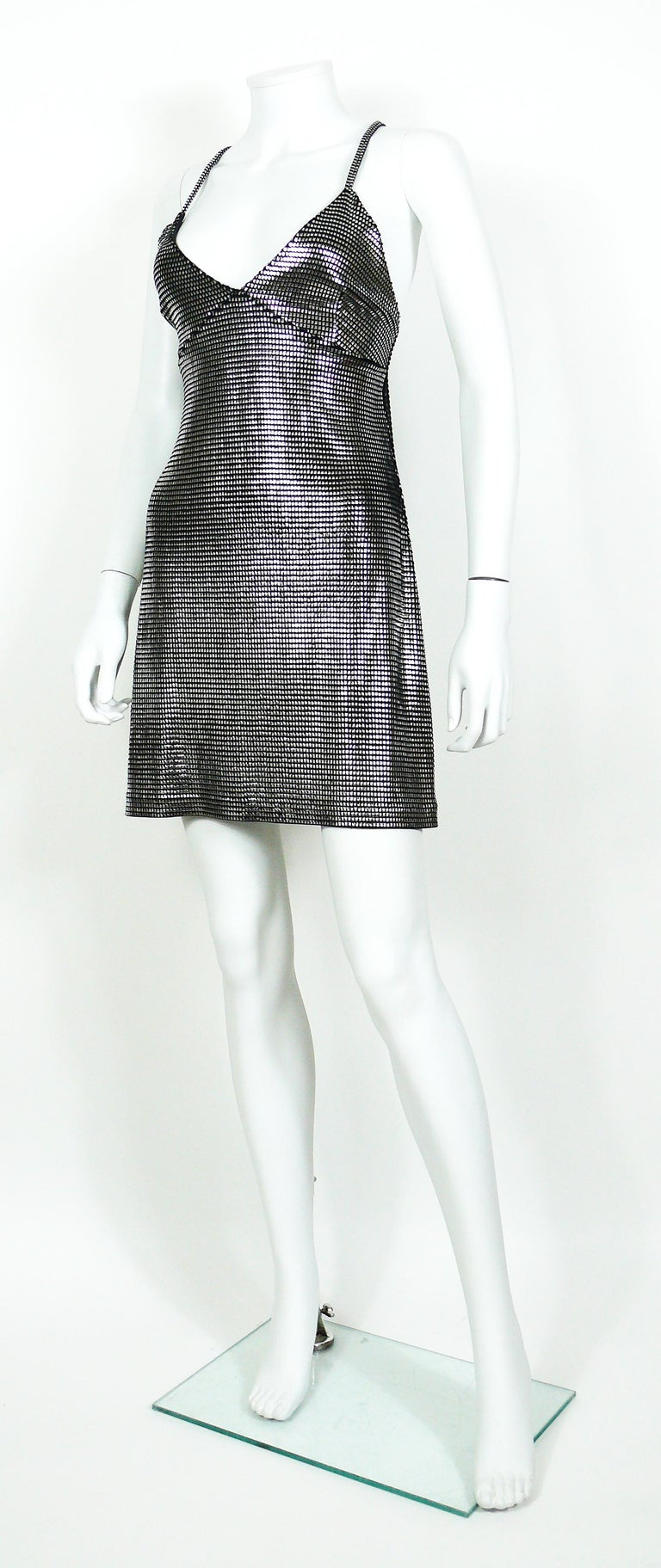 Black Paco Rabanne Silver Foil Grid Mini Dress For Sale