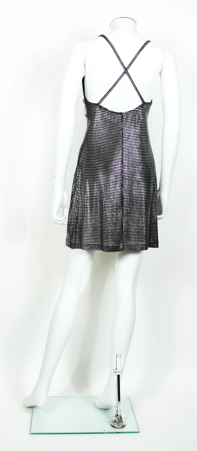 Paco Rabanne Silver Foil Grid Mini Dress In Excellent Condition For Sale In French Riviera, Cote d'Azur