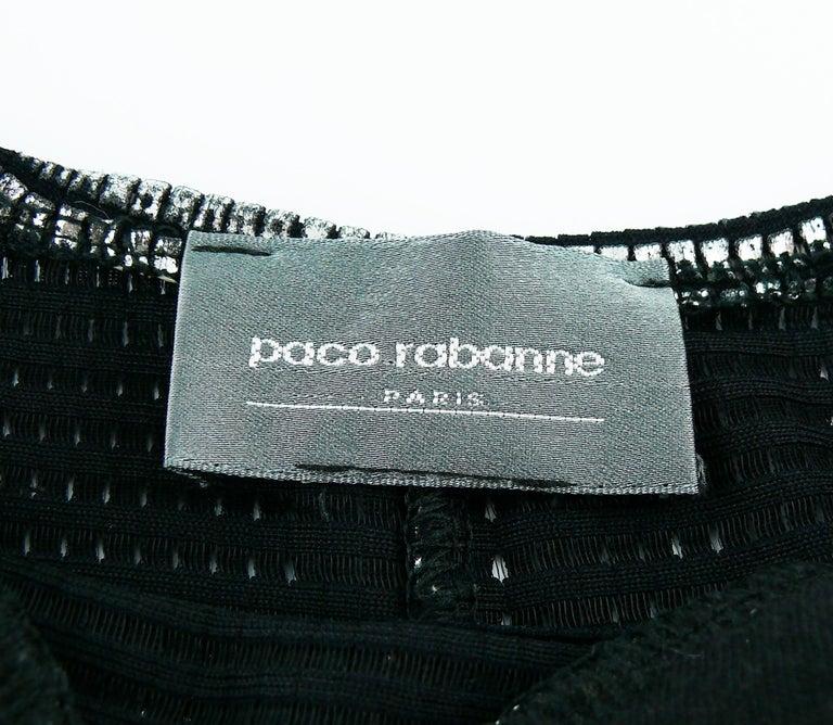 Paco Rabanne Silver Foil Grid Mini Dress For Sale 1
