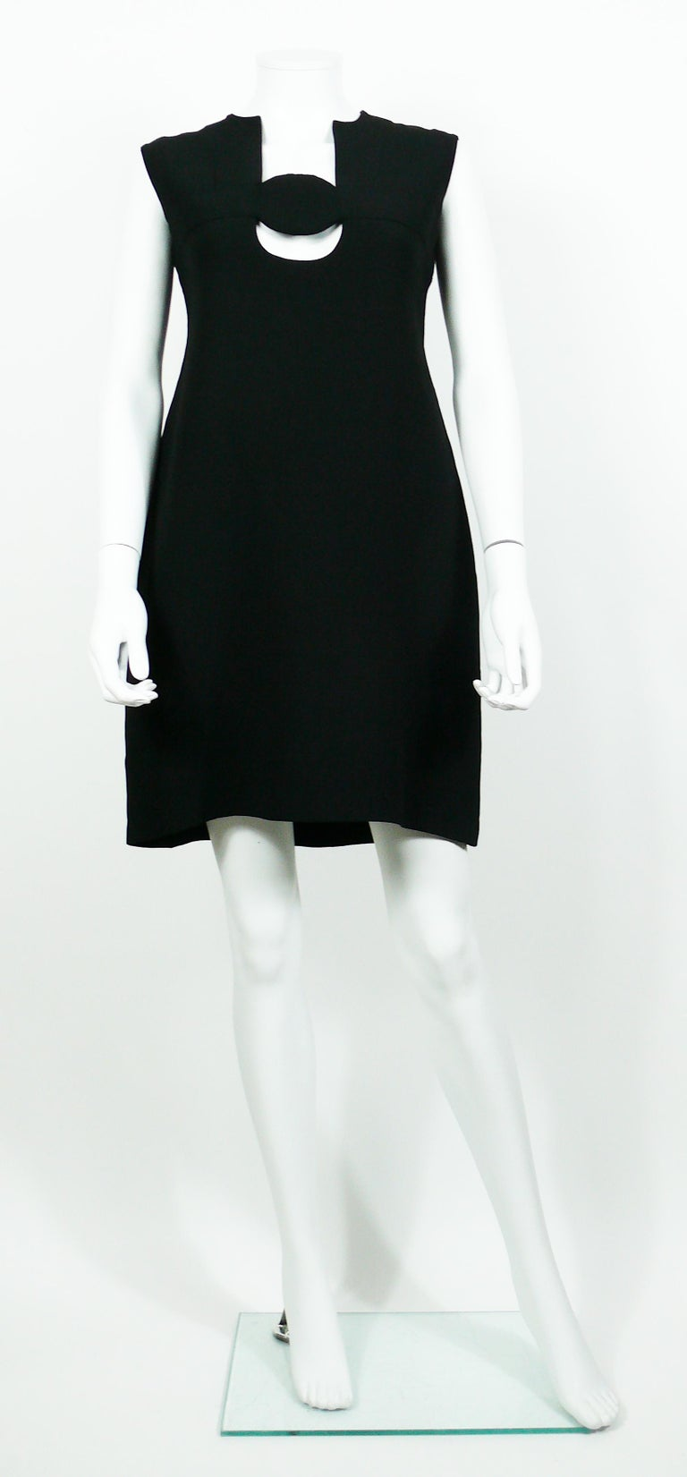 fead705e4f3 Pierre Cardin Vintage Space Age Cut Out Circle Little Black Dress In Fair  Condition For Sale