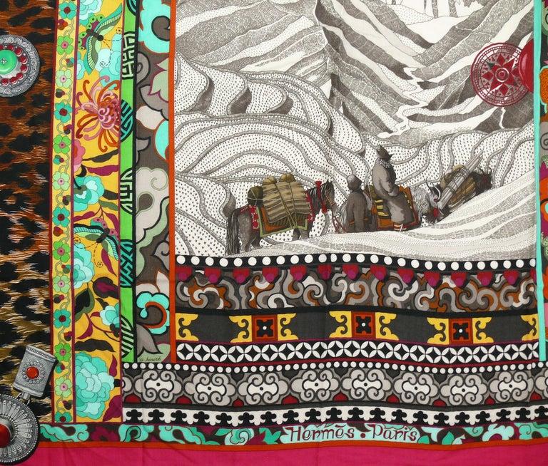 Brown Hermes by Aline Honore Cashmere Silk La Femme Aux Semelles de Vent GM Shawl 2009 For Sale