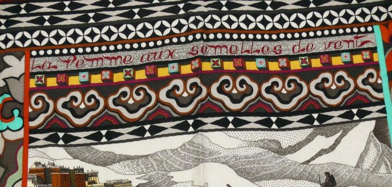 Hermes by Aline Honore Cashmere Silk La Femme Aux Semelles de Vent GM Shawl 2009 For Sale 2