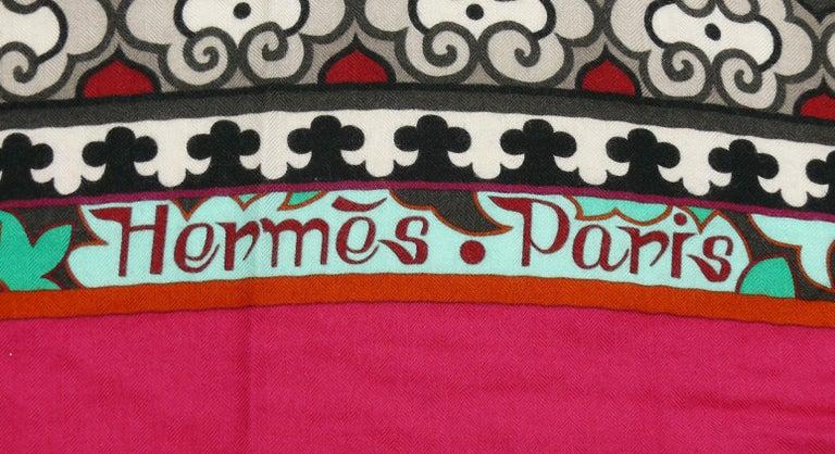 Hermes by Aline Honore Cashmere Silk La Femme Aux Semelles de Vent GM Shawl 2009 For Sale 3