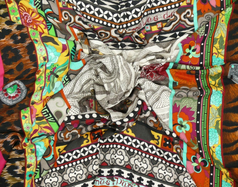 Hermes by Aline Honore Cashmere Silk La Femme Aux Semelles de Vent GM Shawl 2009 For Sale 5