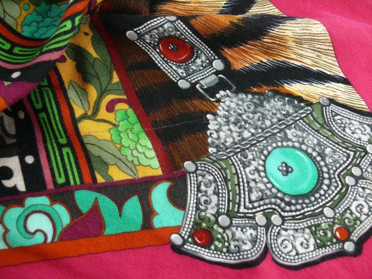 Hermes by Aline Honore Cashmere Silk La Femme Aux Semelles de Vent GM Shawl 2009 For Sale 10