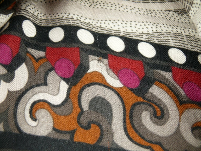 Hermes by Aline Honore Cashmere Silk La Femme Aux Semelles de Vent GM Shawl 2009 For Sale 12