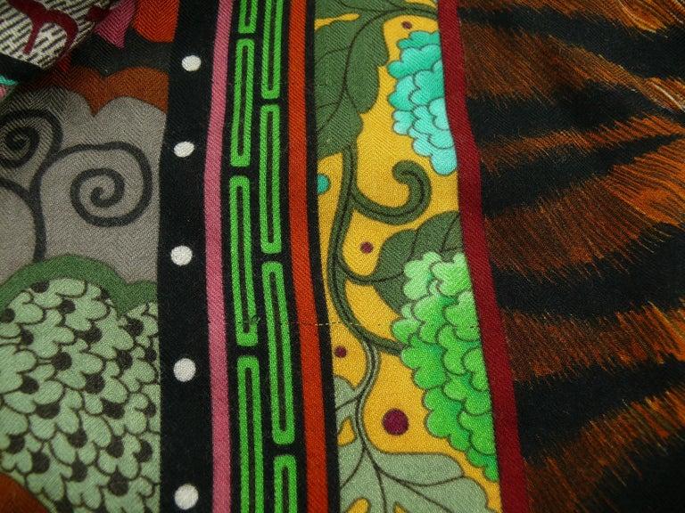 Hermes by Aline Honore Cashmere Silk La Femme Aux Semelles de Vent GM Shawl 2009 For Sale 13