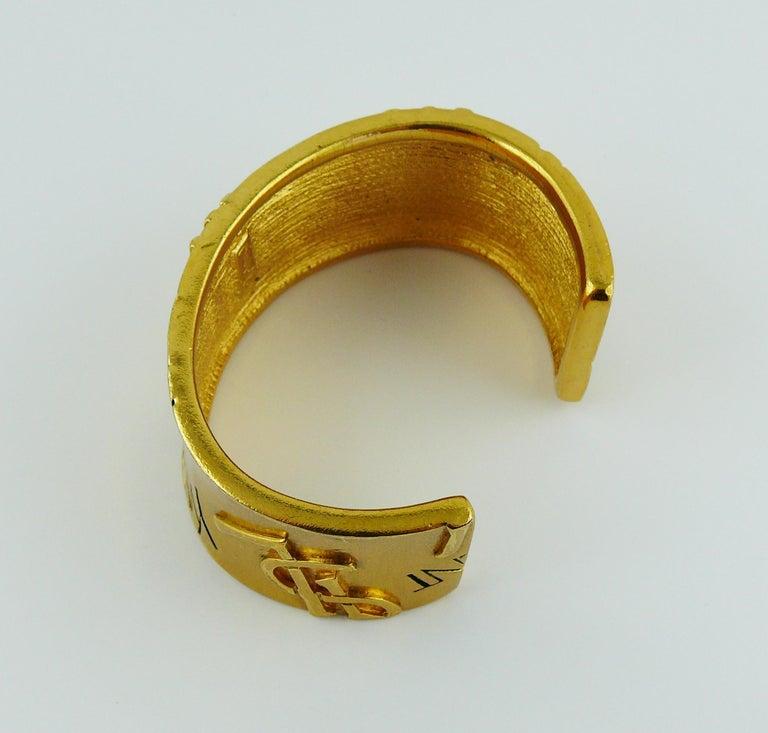 Yves Saint Laurent YSL Vintage Signature Logo Cuff Bracelet For Sale 6