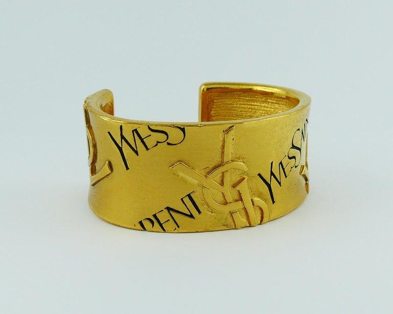 Women's Yves Saint Laurent YSL Vintage Signature Logo Cuff Bracelet For Sale