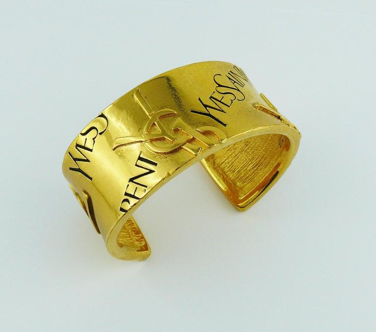 Yves Saint Laurent YSL Vintage Signature Logo Cuff Bracelet For Sale 1
