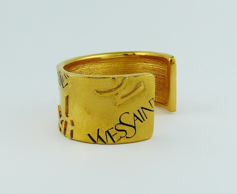 Yves Saint Laurent YSL Vintage Signature Logo Cuff Bracelet For Sale 3