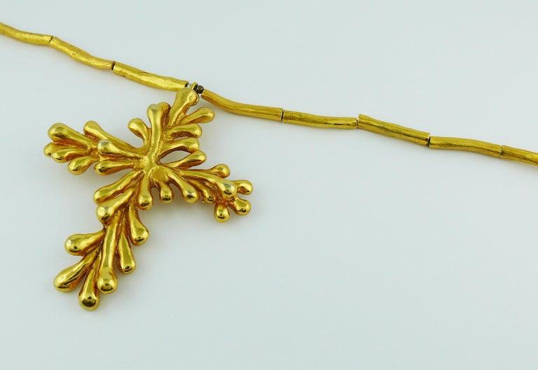 Women's Christian Lacroix Vintage Gold Toned Cross Pendant Necklace