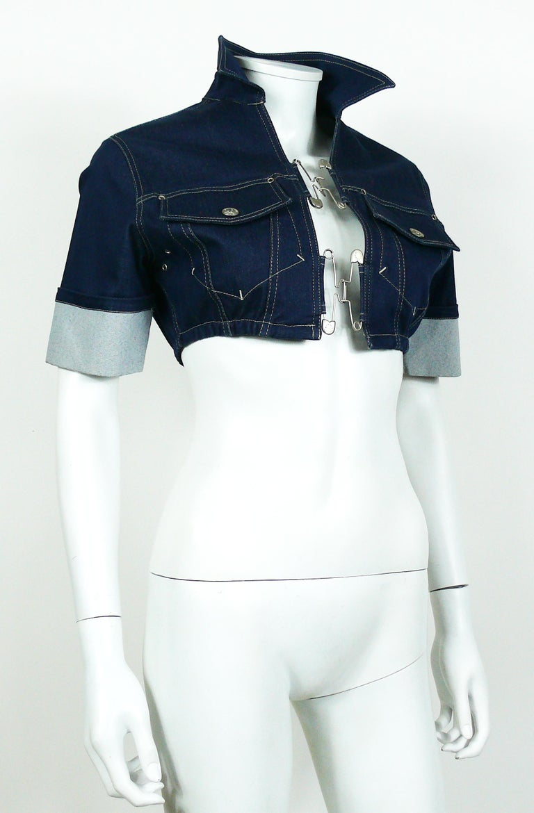 Jean Paul Gaultier Vintage Denim and Safety Pin Crop Top For Sale at ... bd0d6f9e0