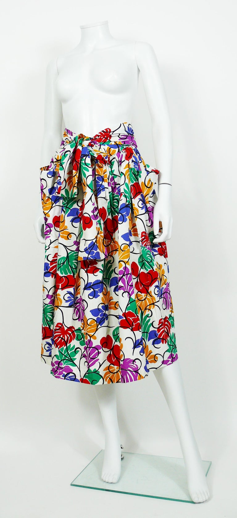 Women's Yves Saint Laurent YSL Vintage Matisse Inspired Floral Cotton Sash Skirt For Sale