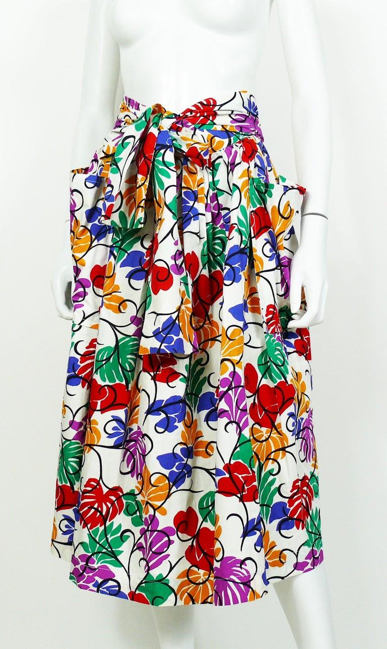 Yves Saint Laurent YSL Vintage Matisse Inspired Floral Cotton Sash Skirt For Sale 1