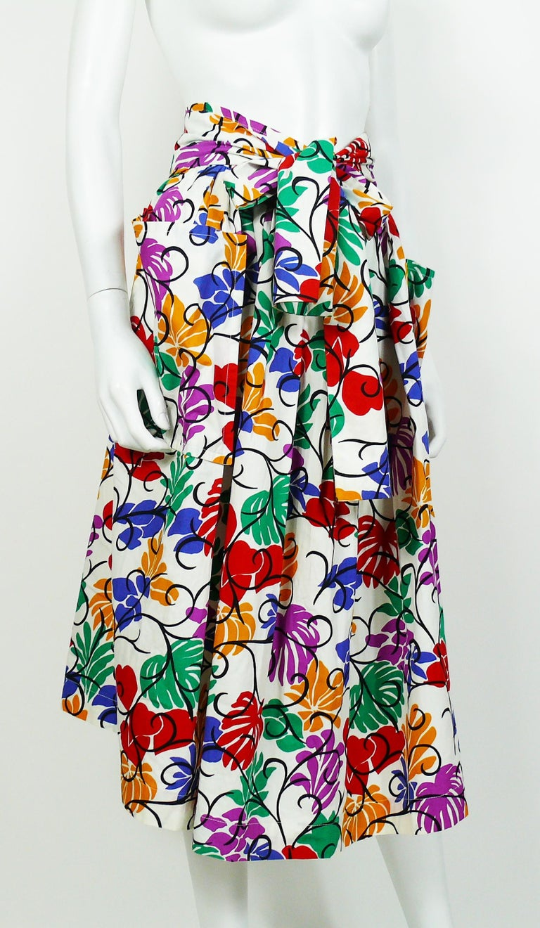 Beige Yves Saint Laurent YSL Vintage Matisse Inspired Floral Cotton Sash Skirt For Sale