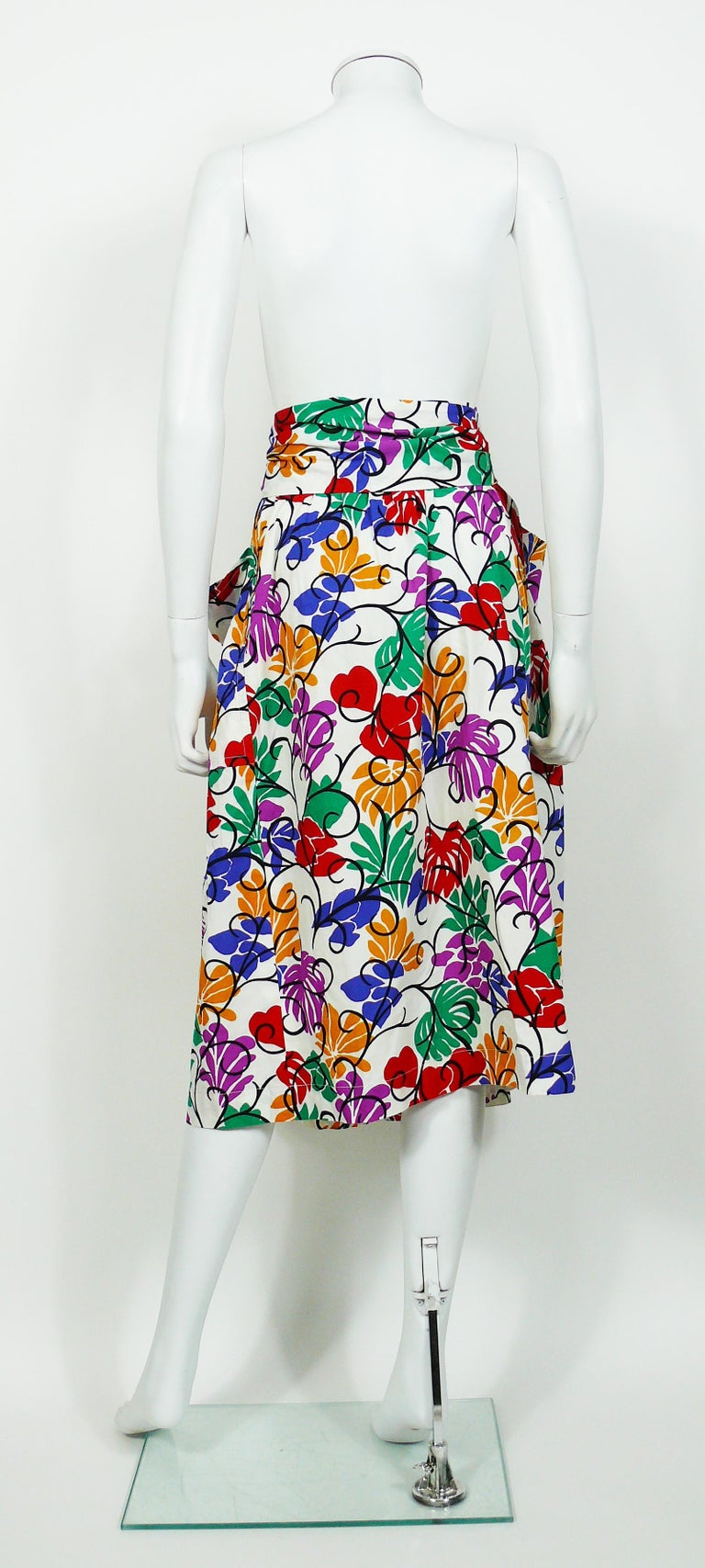 Yves Saint Laurent YSL Vintage Matisse Inspired Floral Cotton Sash Skirt For Sale 2