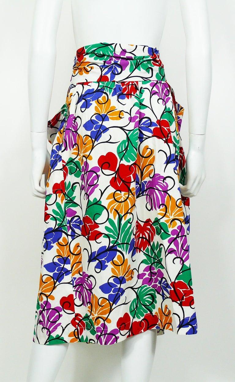 Yves Saint Laurent YSL Vintage Matisse Inspired Floral Cotton Sash Skirt For Sale 3