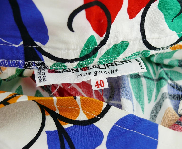 Yves Saint Laurent YSL Vintage Matisse Inspired Floral Cotton Sash Skirt For Sale 4