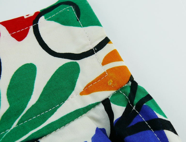 Yves Saint Laurent YSL Vintage Matisse Inspired Floral Cotton Sash Skirt For Sale 7