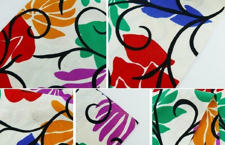 Yves Saint Laurent YSL Vintage Matisse Inspired Floral Cotton Sash Skirt For Sale 12