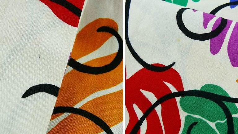 Yves Saint Laurent YSL Vintage Matisse Inspired Floral Cotton Sash Skirt For Sale 13