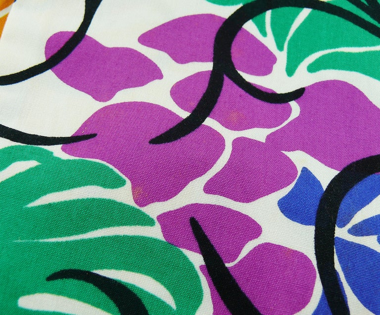 Yves Saint Laurent YSL Vintage Matisse Inspired Floral Cotton Sash Skirt For Sale 14