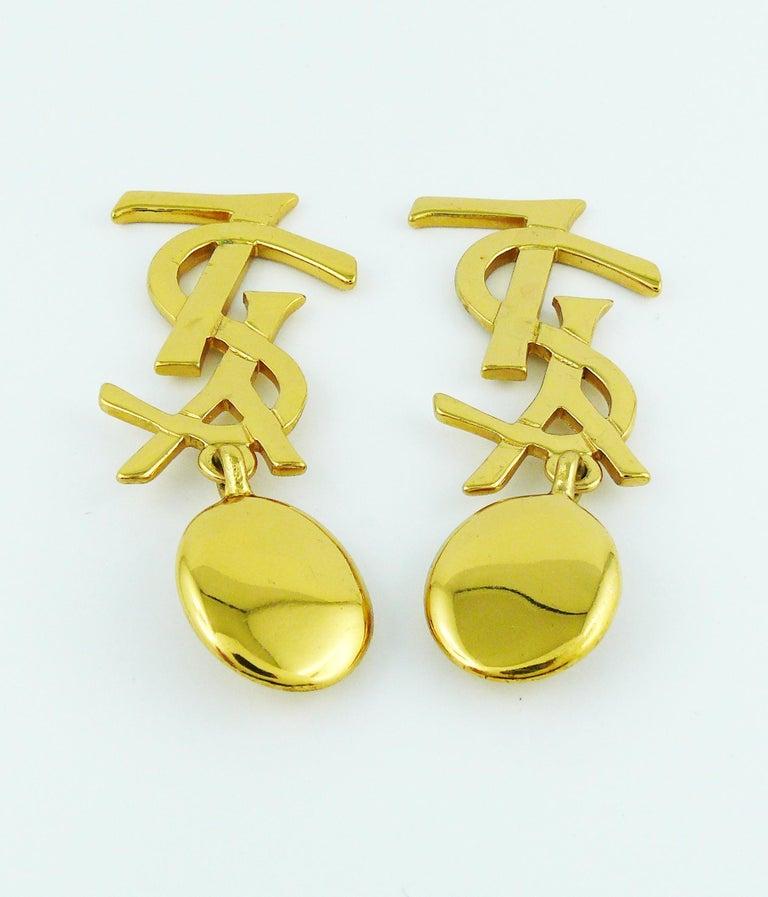Women's Yves Saint Laurent YSL Vintage Massive Iconic Logo Dangling Earrings For Sale