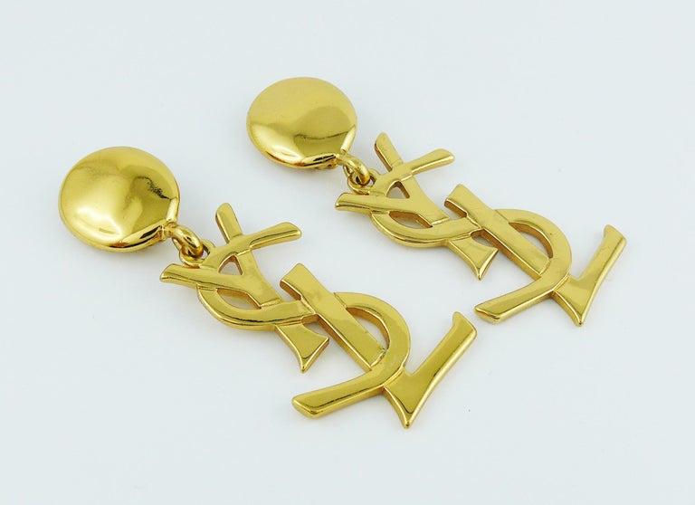 Yves Saint Laurent YSL Vintage Massive Iconic Logo Dangling Earrings For Sale 4