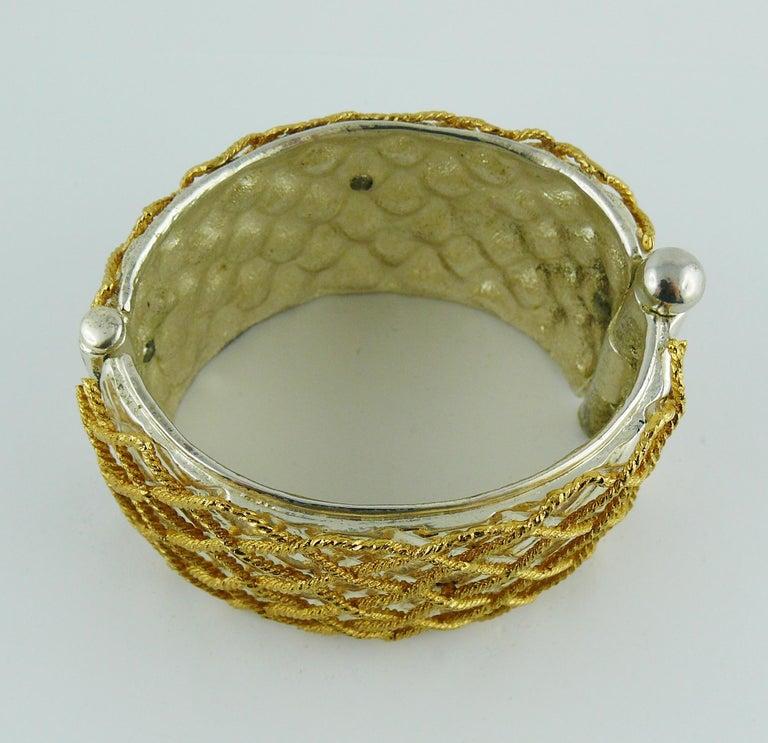 Yves Saint Laurent YSL Vintage Two Tone Grid Design Cuff Bracelet For Sale 6
