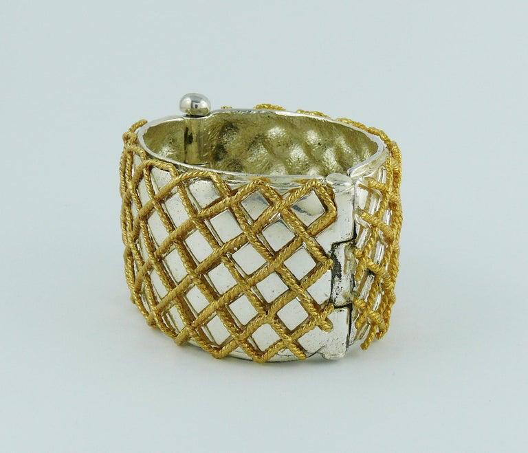 Yves Saint Laurent YSL Vintage Two Tone Grid Design Cuff Bracelet For Sale 3