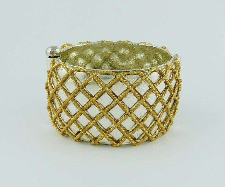 Yves Saint Laurent YSL Vintage Two Tone Grid Design Cuff Bracelet For Sale 2