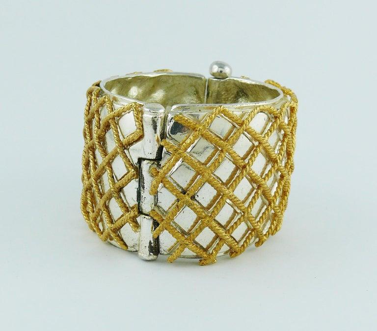 Women's Yves Saint Laurent YSL Vintage Two Tone Grid Design Cuff Bracelet For Sale